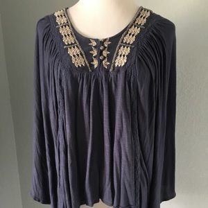 Free People Women's Blue Embroidered Top Size S